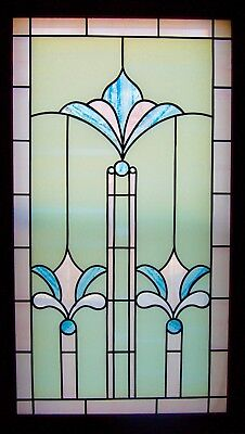 """vintage Arts & Crafts Mission style Stained Glass Window Frame Large 55 """"x 32"""""""