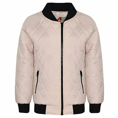 Kids Jackets Girls Bomber Padded Quilted Zip Up Biker Jacket Coats 5-13 Years