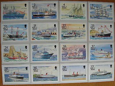 Isle Of Man 1993 Ships Set Of 16 Unused Stamp Cards