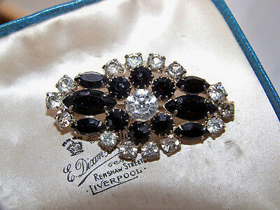 Old Vintage Jewellery French Jet Marquis & Clear Rhinestone Bar Brooch Shawl Pin