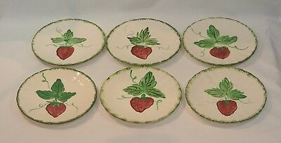BLUE RIDGE China WILD STRAWBERRY Bread Plates Set of 6 Pottery 6 1/4 inches