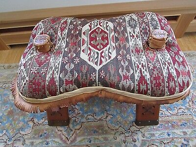 Vintage Wood Camel Saddle Ottoman Stool Seat Kilim Rug cushion, easy assembly