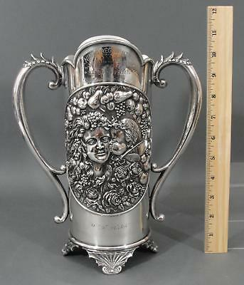 Antique 19thC James Tufts Art Nouveau Cupid Kissing Psyche Silverplate Trophy