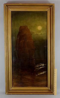 Antique Signed Luminist Nocturnal Moonlit Clipper Ship Seascape Oil Painting
