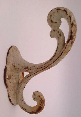 Rustic Vintage White Chippy Patina Cast Iron Wall Hook Farmhouse Cottage Shabby