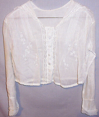 -Rare- Early -Sheer- Vintage Ladies/Women's Embroidered White Blouse/Top