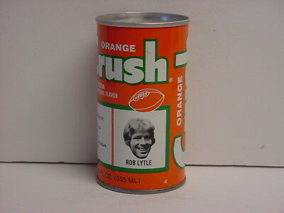 Vintage Orange Crush Rob Lytle Denver Broncos Steel Pull Tab Top Opened Soda Can
