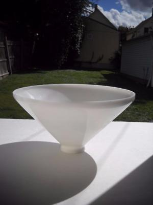 "Milk White Glass Torchiere Shade - 9-3/4"" Wide At Top With 2-1/4"" Fitter End, EC"
