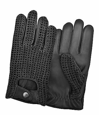 Men's Driving Gloves Sheep Leather Chauffeur Retro Classic Vintage Crochet Back