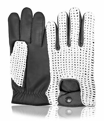 Premium Quality Real Leather Mens Driving Gloves Crochet Dress Fashion Style