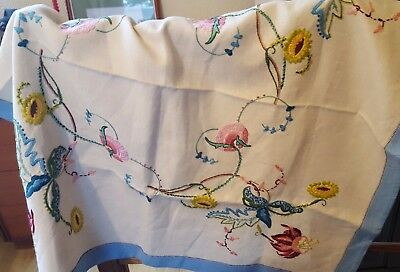 Beautiful Vintage Tea Tablecloth, Irish Linen, Jacobean Style Hand Embroidery