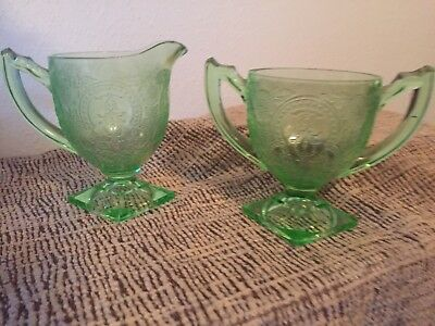 Indiana Horseshoe Green Depression Glass Footed Creamer Pitcher and Sugar Bowl