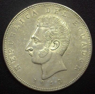 Ecuador 1943-Mo Silver 5 Sucres  Km#79  Choice Uncirculated