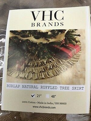 "Burlap Natural Mini Ruffled 21"" Christmas Tree Skirt VHC Brands NEW"
