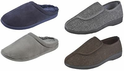 Luxury Mens Memory Foam Slippers Warm Lined Comfort Mules Xmas Gift Shoes Size