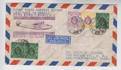 Hong Kong to Honolulu First Trans Pacific Flight Cover