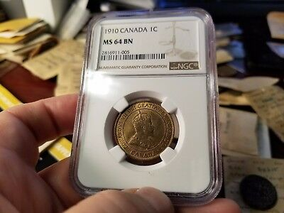 1910 Canadian Large Cent Ngc Ms 64 Bn
