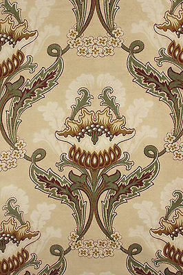 Antique French Art Nouveau printed cotton fabric ~LARGE for reworking / cutting