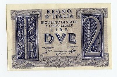 Italy Two Lire Purple Banknote, Ll Corner Tip Folded                    (I16)