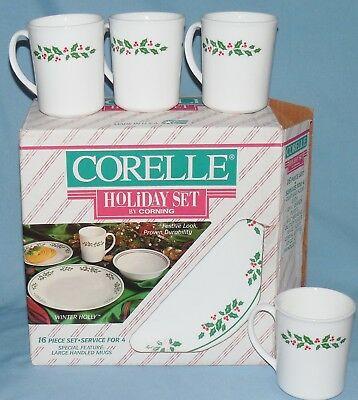 CORELLE CORNING Christmas Winter Holly Holiday Vintage dish set 16 ...