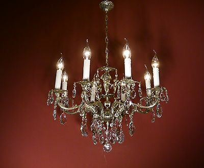 Small 8 Light Nickel French Chandelier Vintage Lamp Old Antique