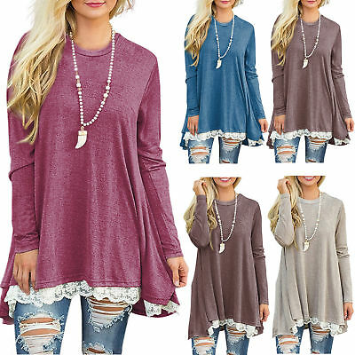 2017 New Womens Long Sleeve Blouse Lace Hem Tunic Loose Tops Jumper A Dress