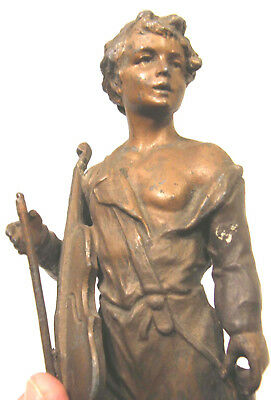 Antique Art Nouveau Spelter Metal Statue Pastoral Youth Boy W/violin A Moreau
