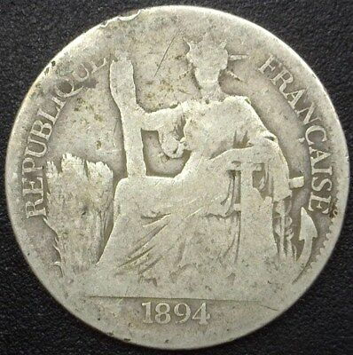 French Indo-China 1894 Silver 50 Cents  Very Good  Km#4 Rare!