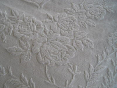 Vintage/antique White Marcella Bedspread Embossed Roses 87X90