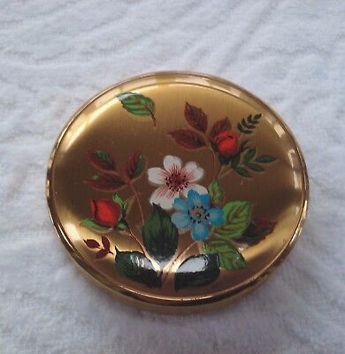 Vintage Melissa Made In England Powder Compact Case Mirror Goldtone Flowers Rose