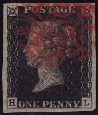 GREAT BRITAIN 1840 PENNY BLACK QV Mi/SG 1 or 2 HL plate? red Maltese Cross WOW!