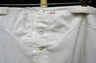 ANTIQUE EDWARDIAN EARLY 1900s VINTAGE LABELED BELTED BUTTON FLY LONG JOHN PANTS