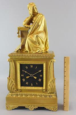 19thC Antique 1820s French Empire Gold Gilt Bronze Mantel Clock 16thC Artist