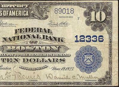Large 1902 $10 Dollar Forbidden Title Note Federal National Bank Boston Currency