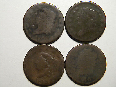 4 Early Large Cents  1810  1809?  1813  1818