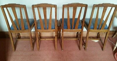 Art Deco Dining Chair Set Solid Golden Oak Sunburst Design 1930 1920 Vintage