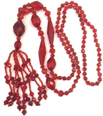 Antique Art Deco Red Glass Bead Necklace Tassel Faceted Glass Beads Jewelry