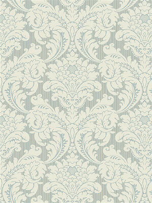 4 ROLL LOT York Wallcoverings Classic Blue and Cream Stria Damask Wallpaper Diy