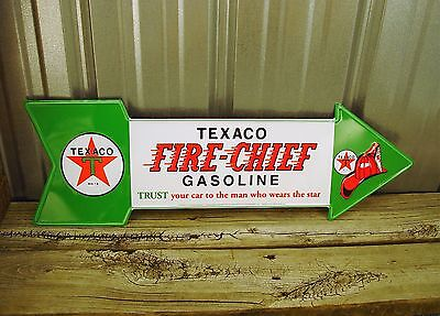 "Texaco Fire Chief Gasoline 27"" Arrow Metal Tin Sign Large Vintage Style Garage"