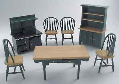 DOLLS HOUSE 1/12th  SCALE 7 PC OLD STYLE  GREEN KITCHEN SET