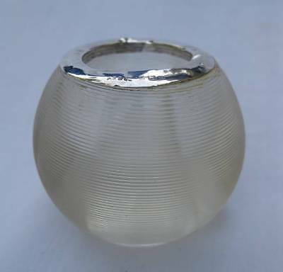 """Antique English Sterling Silver Threaded 2"""" Glass Ball Match Strike Holder 1901"""