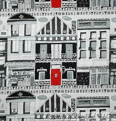 BonEful Fabric FQ Cotton Quilt B&W Black White Red City Home House Decor Street