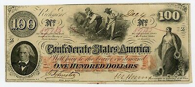 1862 T-41 $100 The Confederate States of America Note w/ SLAVES - NO RESERVE!