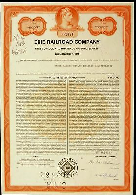 Stock Certificate Erie Railroad Co NY 1st Consolidated Mortgage 3 1/8% Bond F