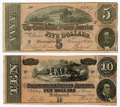 (Pair) T-68 $10 and T-69 $5 Confederate States of America Notes - NO RESERVE!