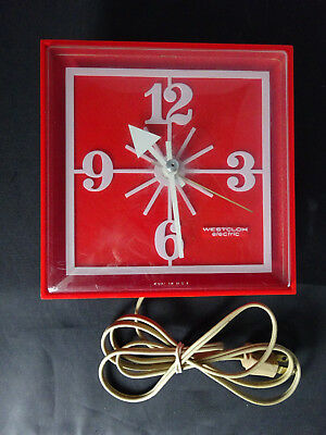 Vtg Westclox Kitchen Electric Wall Clock Red Plastic 1970's Works! Retro