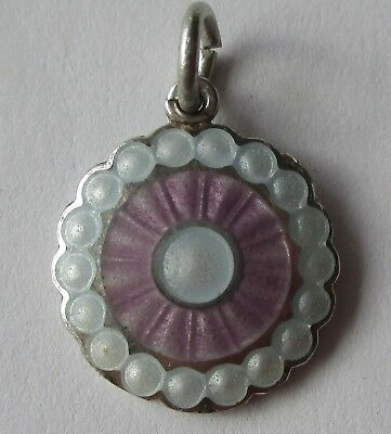 VTG ANTIQUE ART DECO STERLING SILVER PURPLE WHITE ENAMEL DISK DISC CHARM Signed