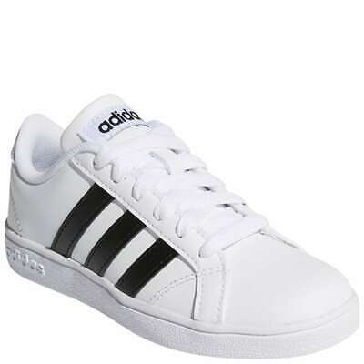 Boy's Youth ADIDAS White BASELINE Leather Casual/Dress Shoes AW4299 NEW