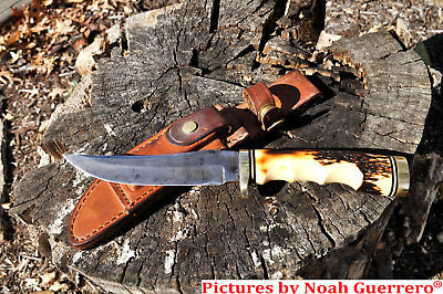 VINTAGE SCHRADE USA 153UH UNCLE HENRY HUNTING KNIFE WITH SHEATH & STONE. Free sh