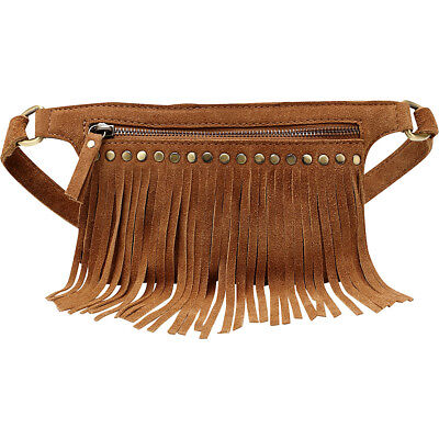 Vicenzo Leather Daisi Suede Leather Fringe Waistbag Waist Pack NEW